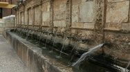 Stock Video Footage of Spain Aragon Daroca fountain of twenty pipes