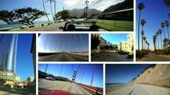 Montage P.O.V. Driving West Coast USA Stock Footage