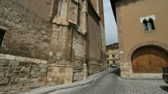 Spain Aragon Daroca old tower tilts up 3 Stock Footage
