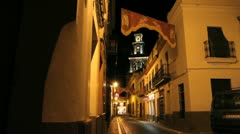 Spain Andalucia Carmona street at night 1 Stock Footage