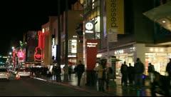 Kodak theatre on Hollywood blvd at night Stock Footage