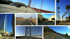 Montage Images P.O.V. Driving West Coast USA Stock Footage
