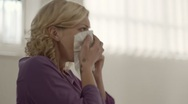 Stock Video Footage of Allergy and health problems for young woman sneezing at work