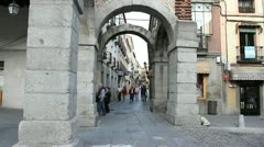 Spain Avila arches over street Stock Footage