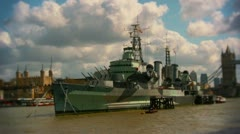 HMS Belfast pretty Stock Footage