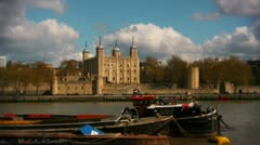 The Tower of London and Tower Bridge pretty - stock footage
