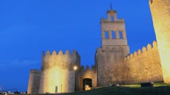 Spain Avila gate and walls night view Stock Footage