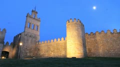 Spain Avila gate and walls with moon Stock Footage