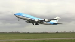 KLM Jumbojet taking off - stock footage