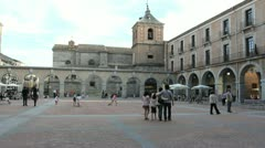 Spain Avila plaza in evening Stock Footage