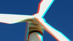 Stereoscopic 3D wind turbine 6 - stock footage