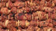 Cooking shashlik on fire, timelapse Stock Footage