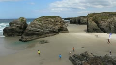 Spain Galicia Playa Catedrales 6 c Stock Footage