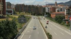 Spain Asturias Oviedo wide road c Stock Footage