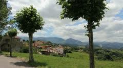 Spain Asturias village round trees 3 c Stock Footage