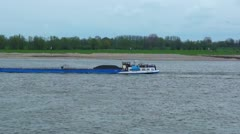 Vessel on the river rine Stock Footage