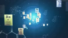 Scientific backgrounds. Elements of Periodic table and chemical formulas. Loop. Stock Footage