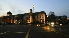 National Gallery and traffic, London Stock Footage