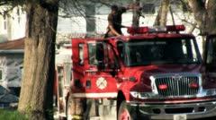 """Stock Fottage - Firemen on older fire truck - Film Look """"Soft"""" Stock Footage"""