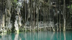 Cenote sinkhole mexico wonder clear water Stock Footage