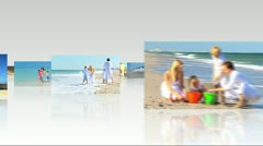 Montage 3D Family Beach Images Stock Footage