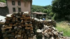 Spain Castile Soto de Sajambre wood pile and horreos - stock footage