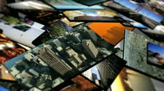 Montage of 3D Tablet Images Scenes USA Cities - stock footage