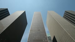 Skyscraper high office building New York City pan 25p PAL business corporate Stock Footage
