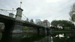 Public garden bridge timelapse Stock Footage