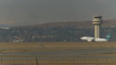 Stock Video Footage of Aircraft, Westjet Boeing 737 takeoff through frame ATC in frame