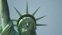 P5C6  Statue of Liberty - Tight Face with pushes and racks - Artsy Look Stock Footage