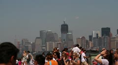 P5C12 One World Trade Center from Liberty Island Stock Footage