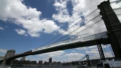 Brooklyn Bridge as seen from Brooklyn WIDE ANGLE Stock Footage