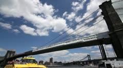 P5C18 Brooklyn Bridge as seen from Brooklyn WIDE ANGLE Stock Footage