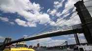 P5C18 Brooklyn Bridge as seen from Brooklyn WIDE ANGLE Stock Footage