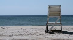 P5C22 Lifeguard Chair on Beach early morning Stock Footage