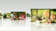 Montage 3D Images Caucasian Family Healthy Outdoor Living Stock Footage