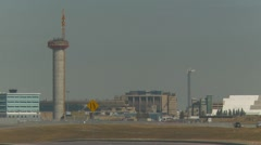 New Calgary International Airport control tower under construction Stock Footage