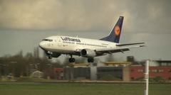 Lufthansa Close up landing Stock Footage