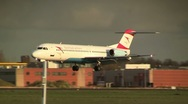 Austrian Airlines afternoon landing Stock Footage