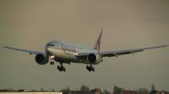 Qatar Cargo plane landing Stock Footage