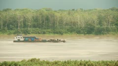 Cargo Ship At Amazon River, South America Stock Footage