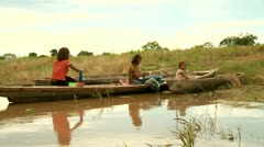 Kids Washing Clothes In Amazon River Stock Footage