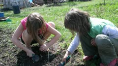 elementary kids working, digging, helping in garden - stock footage