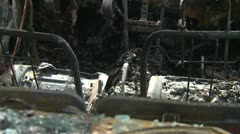 Post fire, burnt car detail, suspicious fire Stock Footage