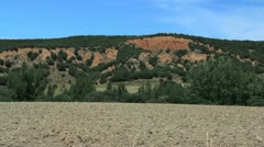 Spain Castile erosion red hillside Stock Footage