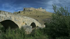 Spain Castile Burgo de Osma castle and bridge Stock Footage