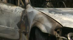 Post fire, burnt car towed on flat deck, suspicious fire Stock Footage