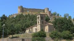 Spain Aguilar de Campoo castle and church c Stock Footage