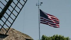 American Flag and Windmill - stock footage